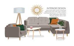 Illustrazione disegnata a mano di interior design di vettore Mobilia del salone abbozzo Fotografia Stock