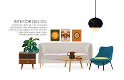 Illustrazione disegnata a mano di interior design di vettore Mobilia del salone abbozzo Fotografie Stock