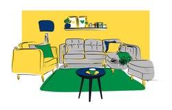 Illustrazione disegnata a mano di interior design di vettore Mobilia del salone abbozzo Immagine Stock Libera da Diritti