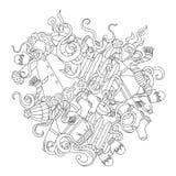 Illustrazione disegnata a mano di inverno di scarabocchi svegli del fumetto Immagine con gli oggetti di tema di inverno illustrazione di stock