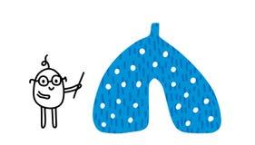 Illustrazione disegnata a mano di lection dello scienziato con i polmoni Organo umano Stile di minimalismo del fumetto uomini illustrazione vettoriale