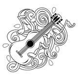 Illustrazione disegnata a mano di musical di scarabocchi del fumetto abbozzo Fotografia Stock