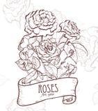 Illustrazione disegnata a mano di Rosa Fotografie Stock