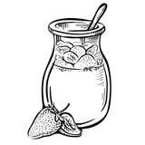 Illustrazione disegnata a mano di scarabocchio di un yogurt con la fragola Fotografie Stock