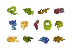 Illustrazione disegnata a mano di simbolo del segno del serpente di vettore su fondo bianco illustrazione di stock