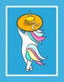 Illustrazione disegnata a mano di un unicorno magico Siete testo impressionante Immagine Stock Libera da Diritti