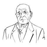 Illustrazione disegnata a mano di un uomo anziano su fondo bianco, nera Fotografia Stock Libera da Diritti