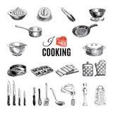 Illustrazione disegnata a mano di vettore con gli strumenti della cucina Immagini Stock