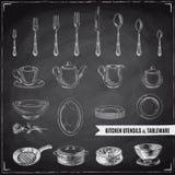 Illustrazione disegnata a mano di vettore con gli strumenti della cucina Immagini Stock Libere da Diritti