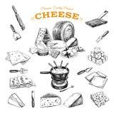 Illustrazione disegnata a mano di vettore con i formaggi Immagine Stock