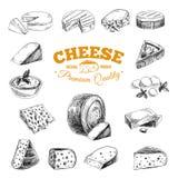 Illustrazione disegnata a mano di vettore con i formaggi Immagini Stock