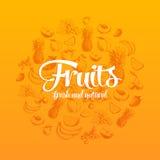Illustrazione disegnata a mano di vettore con i frutti e Fotografia Stock Libera da Diritti