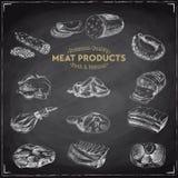 Illustrazione disegnata a mano di vettore con i prodotti a base di carne Immagini Stock