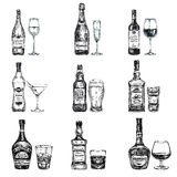 Illustrazione disegnata a mano di vettore con l'alcoolizzato Fotografia Stock