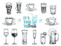 Illustrazione disegnata a mano di vettore con le bevande Fotografie Stock Libere da Diritti