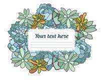 Illustrazione disegnata a mano di vettore del fiore succulente, con l'angolo nello stile orientale, testo, progettazione piana Illustrazione di Stock