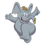 Illustrazione disegnata a mano di vettore del fumetto sveglio dell'elefante Può essere usato per la stampa della maglietta del ba Immagini Stock
