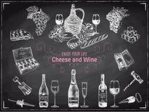 Illustrazione disegnata a mano di vettore del vino Fotografia Stock