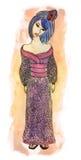 Illustrazione disegnata a mano di vettore della geisha Immagini Stock