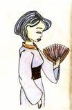 Illustrazione disegnata a mano di vettore della geisha Immagini Stock Libere da Diritti