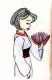 Illustrazione disegnata a mano di vettore della geisha Fotografie Stock
