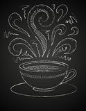 Disegno della tazza di caffè sulla lavagna Fotografie Stock Libere da Diritti