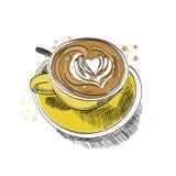 Illustrazione disegnata a mano di vettore della tazza di caffè Immagini Stock