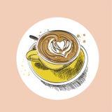 Illustrazione disegnata a mano di vettore della tazza di caffè Immagini Stock Libere da Diritti