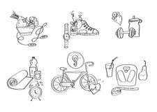 Illustrazione disegnata a mano di vettore delle icone dell'attrezzatura di sport Fotografia Stock Libera da Diritti
