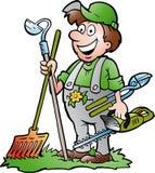 Illustrazione disegnata a mano di vettore di un giardiniere felice Immagine Stock