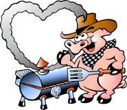Illustrazione di un maiale che fa BBQ Immagini Stock Libere da Diritti
