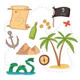 Illustrazione disegnata a mano di vettore - faccia tesoro la mappa e progetti l'elemento Fotografie Stock