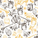 Illustrazione disegnata a mano di vettore di Honey Bee Seamless Pattern Sketch Immagini Stock