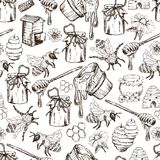 Illustrazione disegnata a mano di vettore di Honey Bee Seamless Pattern Sketch Fotografia Stock