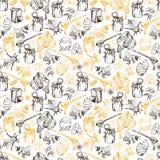 Illustrazione disegnata a mano di vettore di Honey Bee Seamless Pattern Sketch Fotografia Stock Libera da Diritti