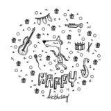Illustrazione disegnata a mano di vettore Iscrizione buona di compleanno ed elementi grafici per la cartolina d'auguri e dell'inv illustrazione vettoriale