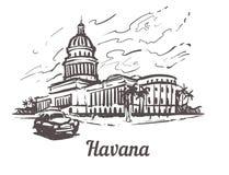 Illustrazione disegnata a mano di vettore di schizzo di Avana Campidoglio di Avana, isolato su fondo bianco fotografia stock libera da diritti