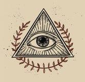 Illustrazione disegnata a mano di vettore - tutto il simbolo vedente della piramide dell'occhio Fotografia Stock Libera da Diritti