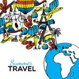Illustrazione disegnata a mano di viaggio Immagini Stock