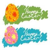 Illustrazione disegnata a mano felice di pasqua con le uova Fotografie Stock