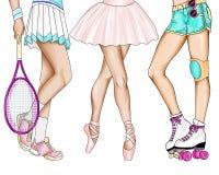 Illustrazione disegnata a mano - gambe delle ragazze che praticano sport Fotografia Stock