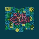 Illustrazione disegnata a mano I libri chiudono a chiave a conoscenza Elemento di disegno Immagini Stock Libere da Diritti
