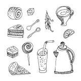 Illustrazione disegnata a mano Insieme del pasto differente: tazza, tè, dolce, Immagini Stock