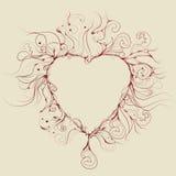 Illustrazione disegnata a mano sudicia del cuore Immagini Stock