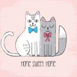 Illustrazione disegnata a mano sveglia, carta con i gatti di schizzo con gli archi, segnanti casa dolce casa con lettere Gatti ne illustrazione vettoriale