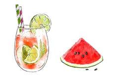 Illustrazione disegnata a mano variopinta del frullato delizioso di frutta fresca e della fetta di anguria Cocktail fresco di est Fotografia Stock Libera da Diritti