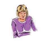 Illustrazione disegnata a mano variopinta di una ragazza addormentata sul BAC bianco Fotografia Stock