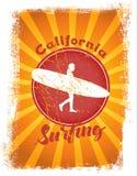 Illustrazione disegnata praticante il surfing illustrazione vettoriale