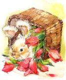 Illustrazione divertente dei fiori e del coniglietto illustrazione vettoriale