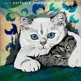 Illustrazione divertente dei gattini Fotografia Stock